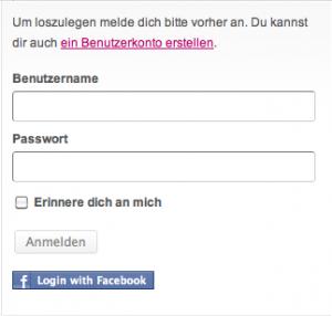 Facebook-Connect: Ein neuer Button unter der Login-Box