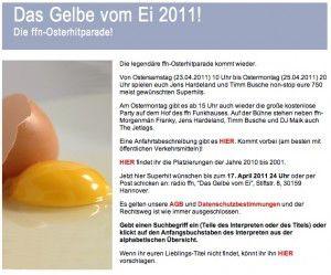 ffn-Osterhitparade: Das Gelbe vom Ei 2011!