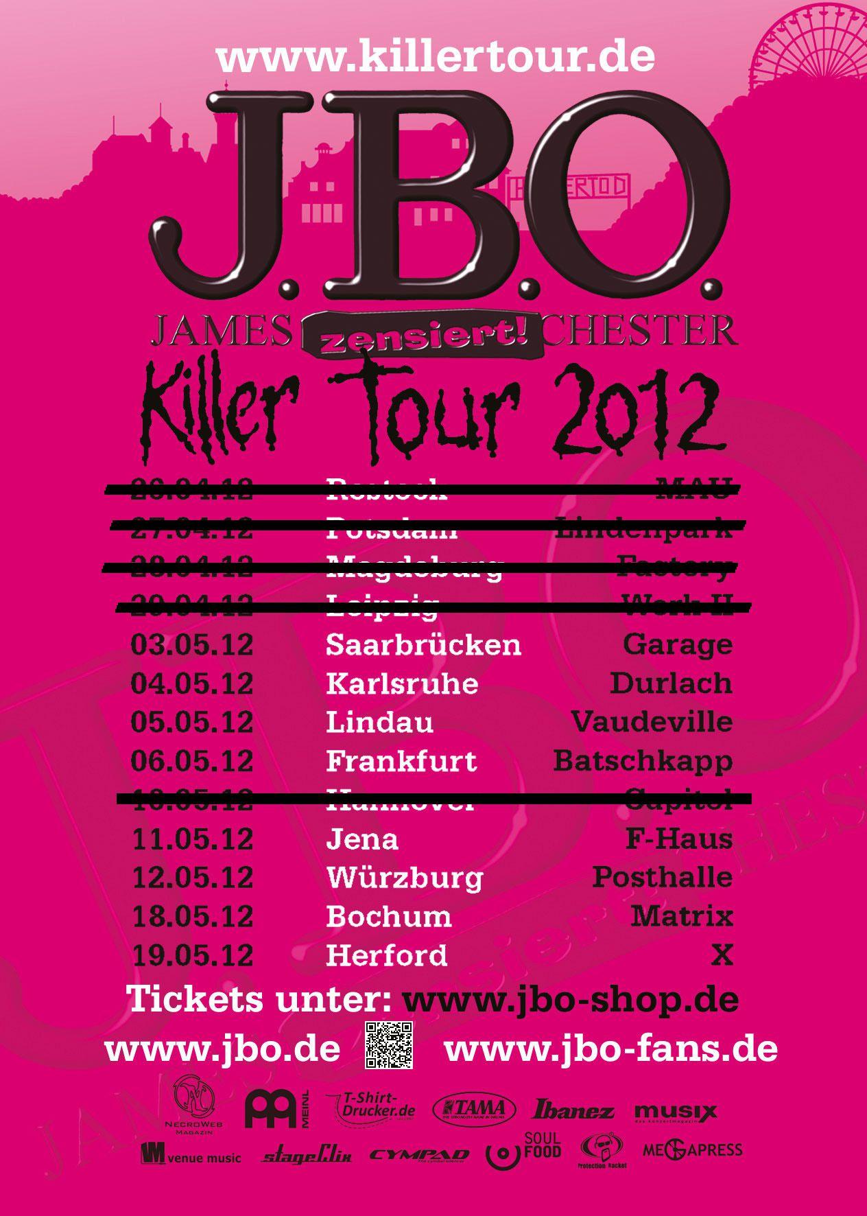 Der erste Tourblock der Killer Tour 2012 muss verschoben werden