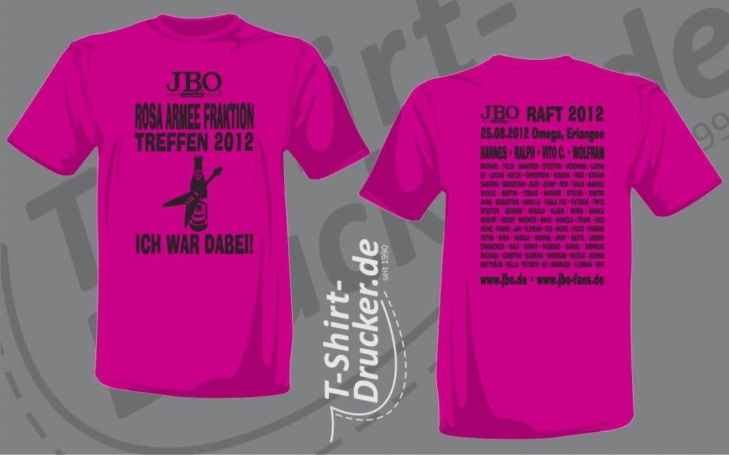 Die Druckvorschau zum RAFT2012-Shirt