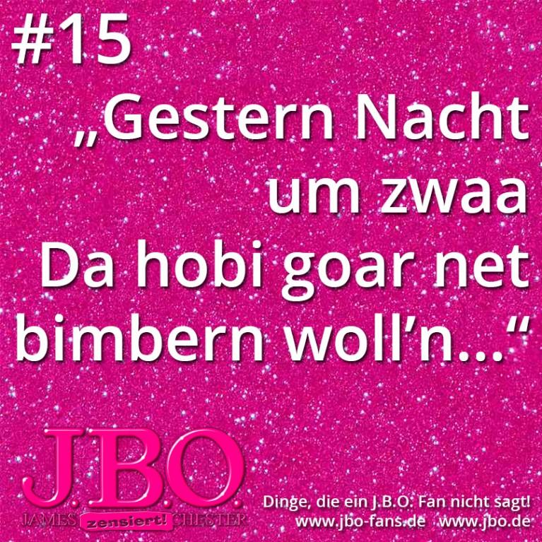 """Dinge, die ein J.B.O. Fan nicht sagt #15: """"Gestern Nacht um zwaa, Da hobi goar net bimbern woll'n…"""""""
