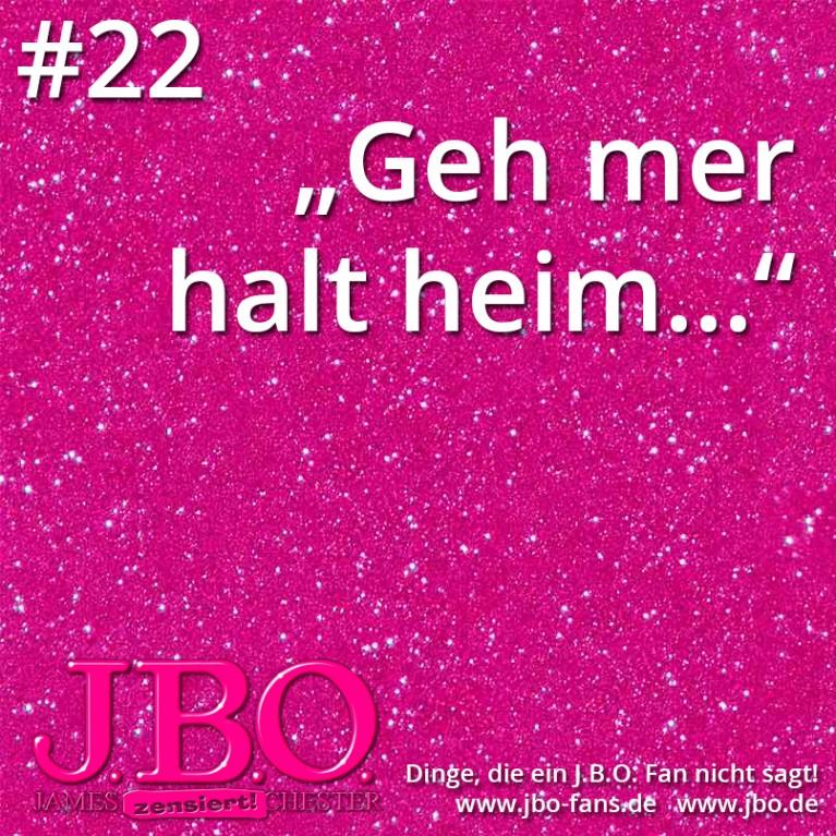 """Dinge, die ein J.B.O. Fan nicht sagt #22: """"Geh mer halt heim…"""""""