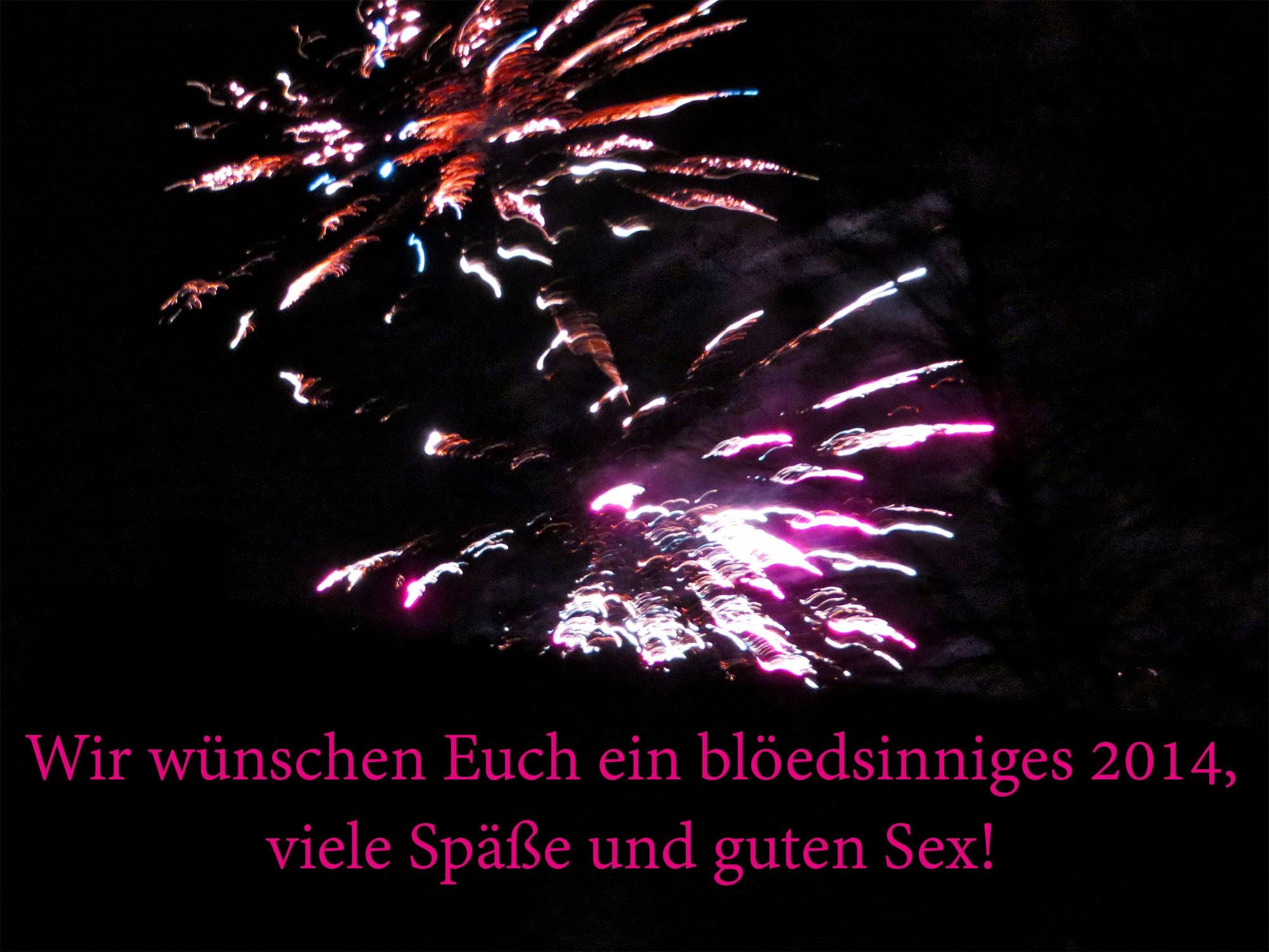 Wir wünschen Euch ein blöedsinniges 2014, viele Späße und guten Sex!
