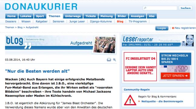 Screenshot: Donaukurier