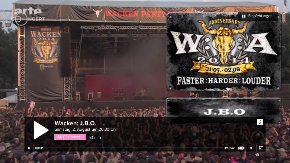 J.B.O. bei Wacken 2014 – Arte-Aufzeichnung