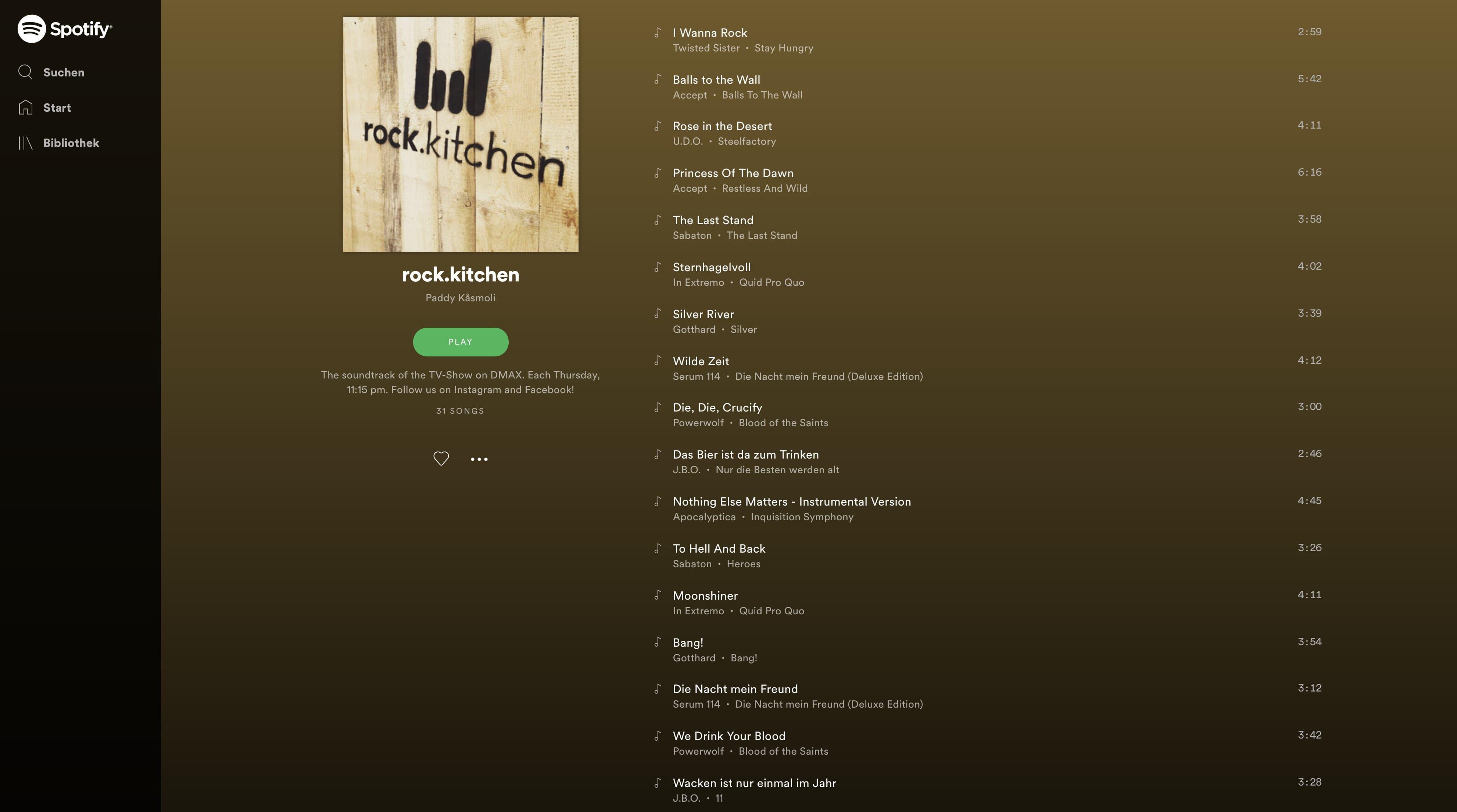 rock.kitchen Playlist bei Spotify und Apple Music