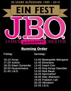 Ein Fest: Der Zeitplan!