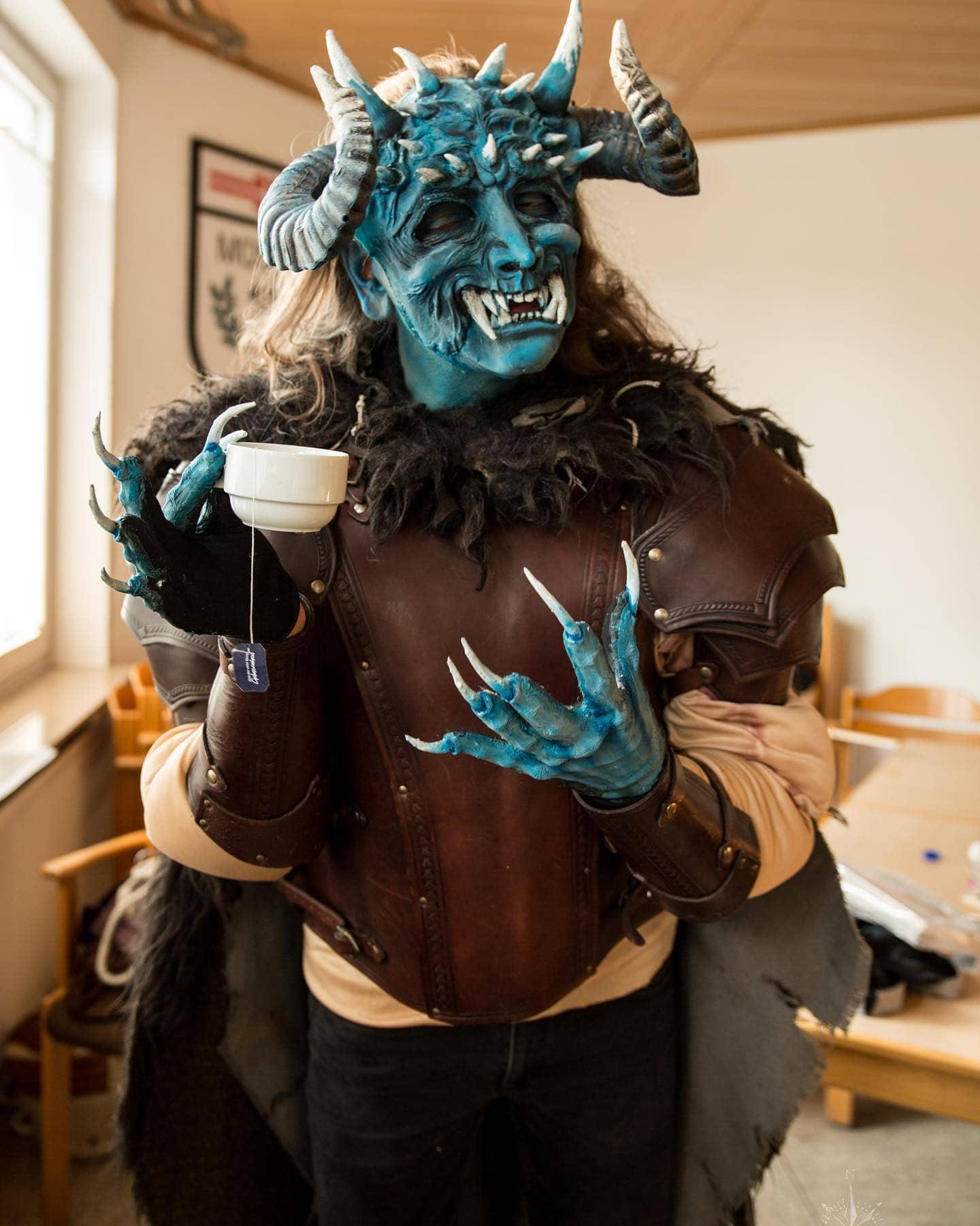 Instagram:Demon doing things: Demon having a good cup of tea… 👹😁 Pic.: @sven_vittoz_photography #demondoingthings #demon #bluede